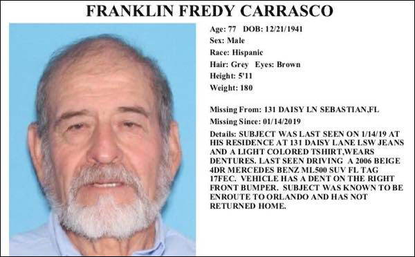 Franklin Fredy Carrasco, 77, was last seen at 131 Daisy Lane wearing jeans and a light colored t-shirt.