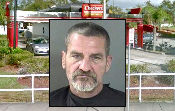 Man smashes window at Checkers in Sebastian, Florida.