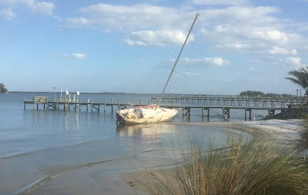 A sailboat has been abandoned since Hurricane Irma in Sebastian, Florida.