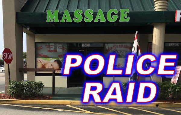 Police raided several massage parlors in Indian River County, Florida.