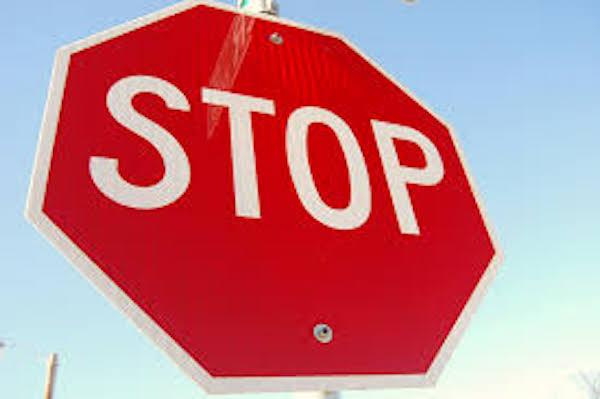 Stop signs in Sebastian, Florida.