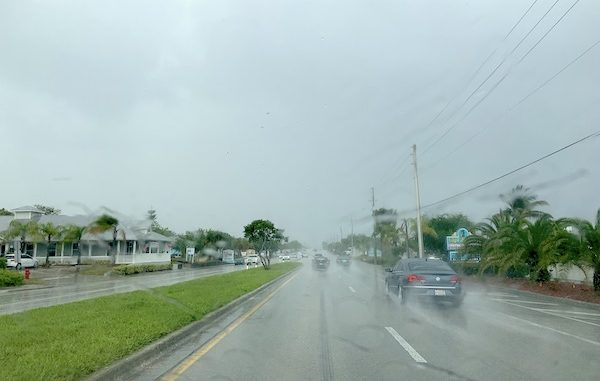 Some roads are flooded from thunderstorms in Sebastian, Florida.