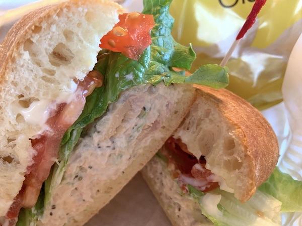 Tuna sandwich on telera bread.