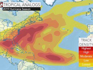 A heat map for the 2019 Atlantic Hurricane Season.