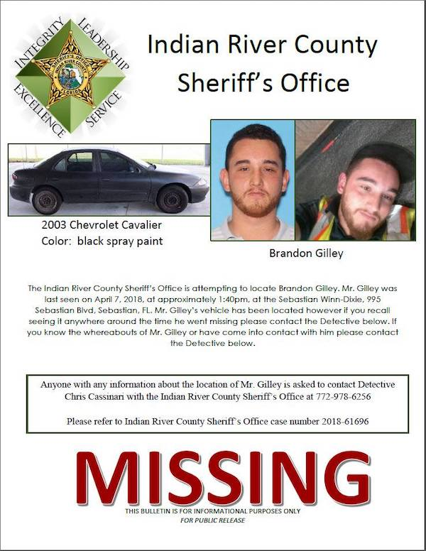 Brandon Gilley still missing.