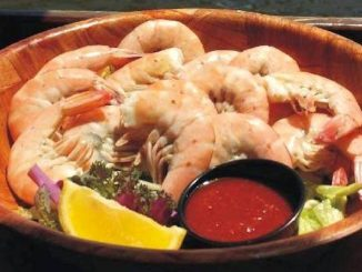 Bottomless Bowls of Delicious Jumbo Peel n' Eat Shrimp at The Old Fish House in Grant, Florida.