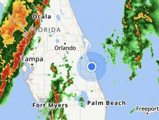 High winds and severe thunderstorms heading towards Sebastian, Florida.