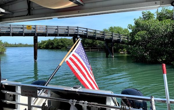American flag on the River King boat in Sebastian.