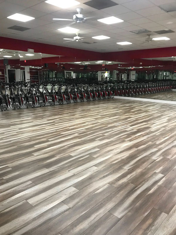 New floor in group fitness room.