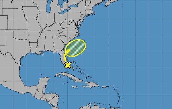 This NOAA map shows the tropical disturbance moving in this weekend in Sebastian, Florida.