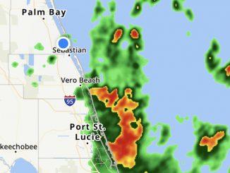 Thunderstorms moving into Sebastian, Florida.