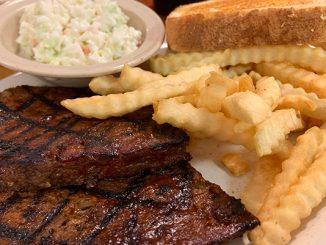 Meatloaf dinner at Woody's Bar-B-Q in Sebastian, Florida.