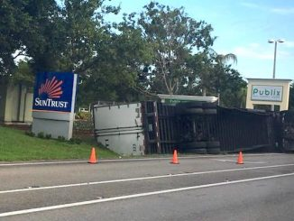 Tractor-Trailer accident causing delays in Sebastian, Florida.