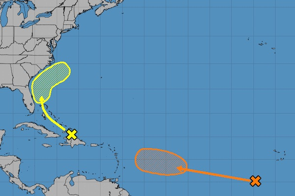 There are two tropical waves in the Atlantic.