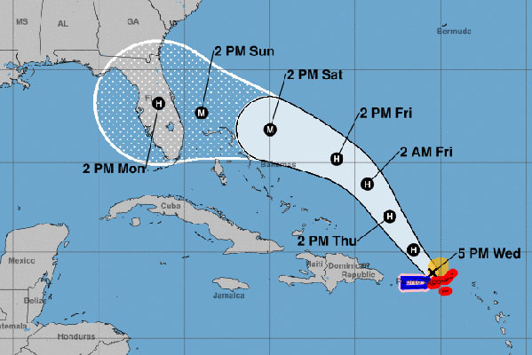 Hurricane Dorian cone in Florida.