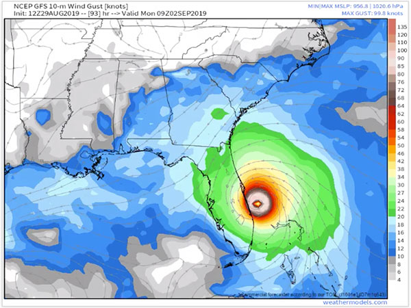 GFS model for Hurricane Dorian. NOTE: This is NOT a forecast.
