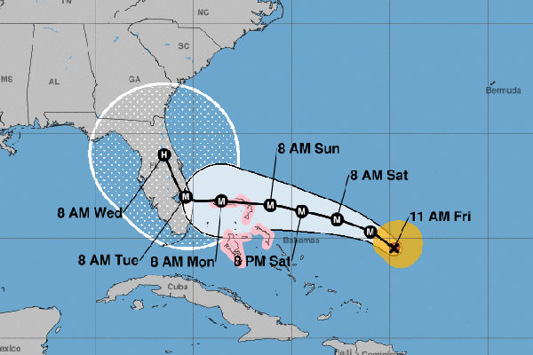 Hurricane Dorian cone of uncertainty.
