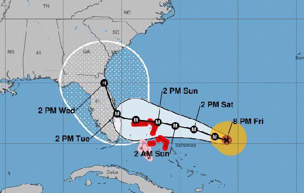 Hurricane Dorian track.