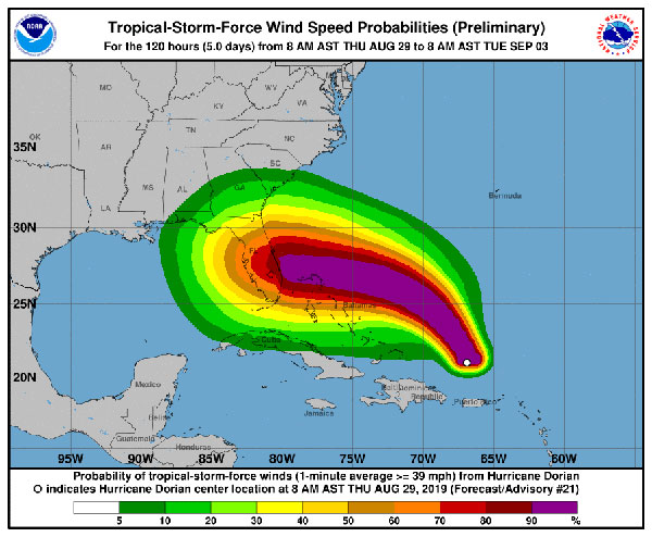 Hurricane Dorian Wind Probabilities