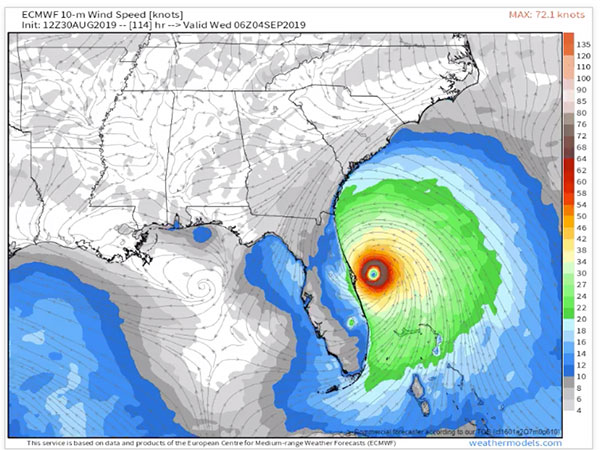 Hurricane Dorian EURO model.