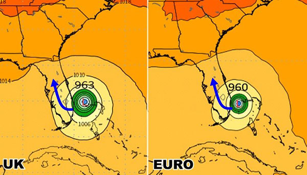 Euro and UK models show a southern landfall in Florida. NOTE: This is NOT official.