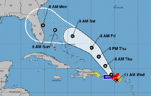 Cone of uncertainty for Hurricane Dorian.
