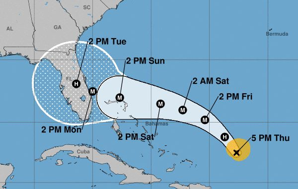 Hurricane Dorian's current path.