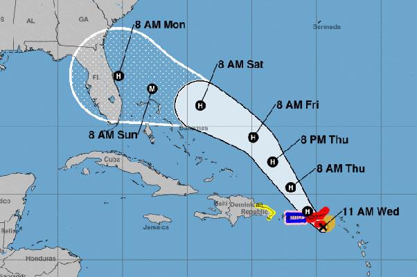 Cone of uncertainty for Hurricane Dorian.