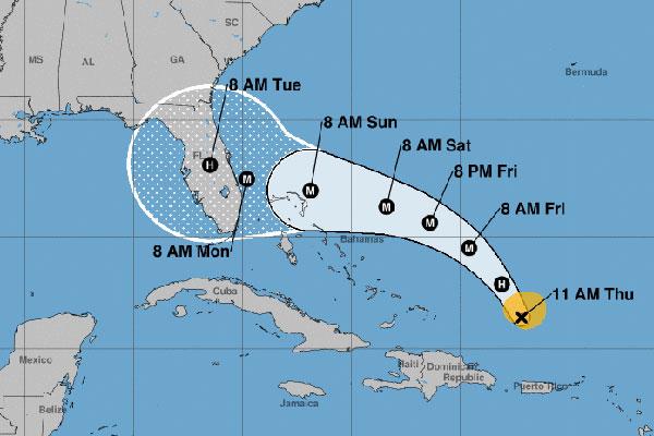 Hurricane Dorian advisory.