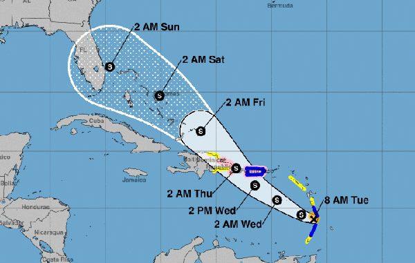 Tropical Storm Dorian Cone
