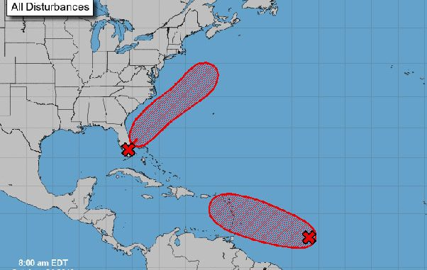 Two tropical disturbances in the Atlantic.