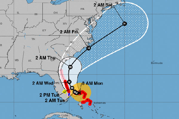 The current cone and projected path for Hurricane Dorian.