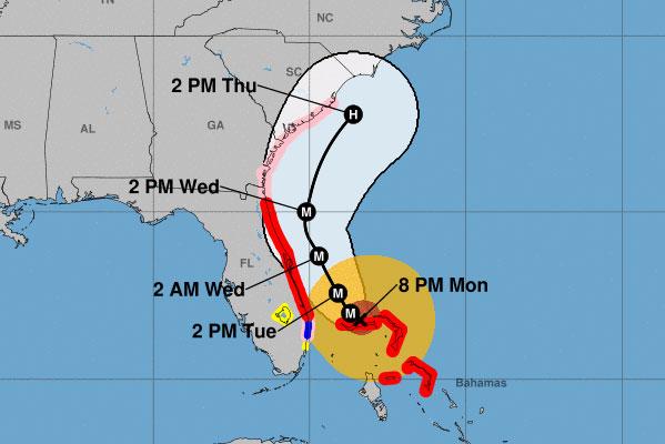 Hurricane Dorian cone.