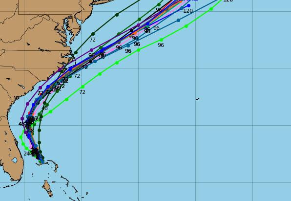 Latest spaghetti models for Hurricane Dorian.