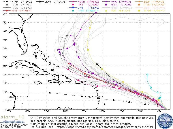 Spaghetti Models for Tropical Storm Jerry