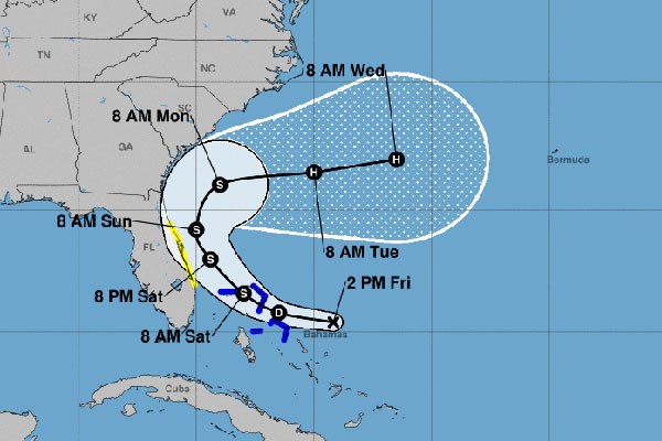 Tropical storm to become a hurricane on Tuesday.