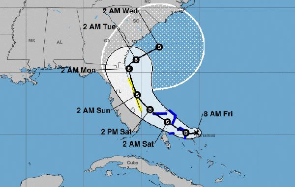 Tropical storm watch for Sebastian, Florida.