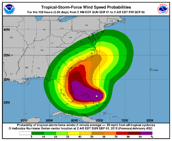Hurricane Dorian expected wind speeds.
