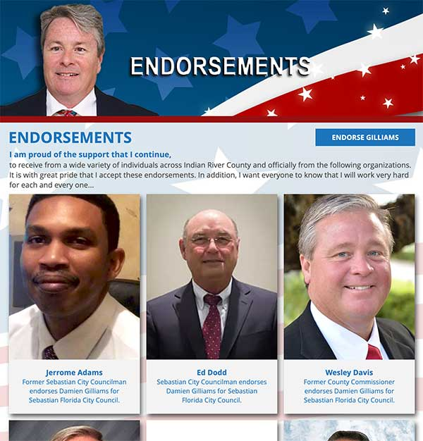 A list of endorsements on Damien GIlliams' campaign website.