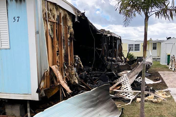 Manufactured home fire in Micco, Florida.