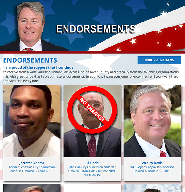 Instead of removing Ed Dodd's photo, Damien Gilliams placed a 'NO THANKS' symbol on it.