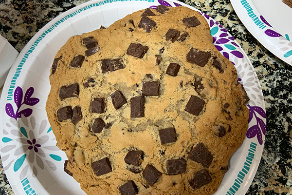 Chocolate chip cookie was stale and hard as a rock.