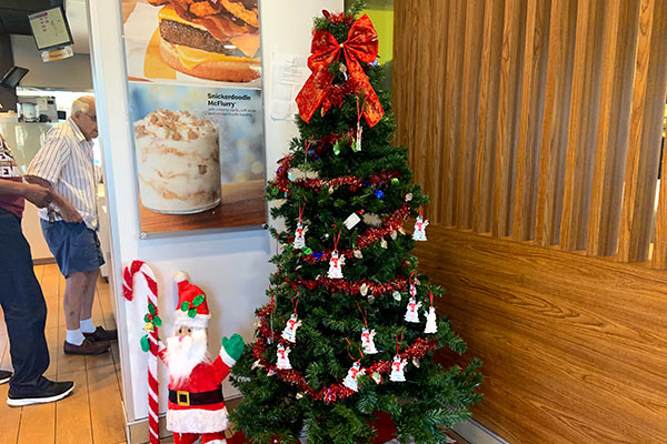 Christmas giving tree for Sebastian River High School students in need at the McDonald's in Roseland.