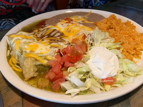 Enchiladas Durango lunch.