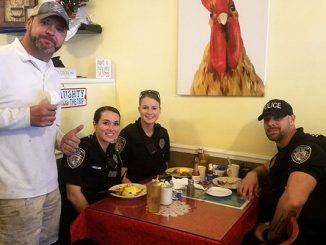 Shannon McClain bought breakfast for three police officers at the Hen House in Sebastian, Florida.