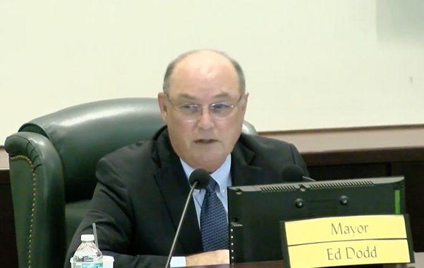 Sebastian Mayor Ed Dodd tells residents that three city council members broke the Sunshine Law.