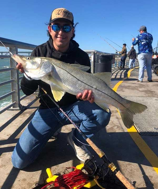 Leo Mizrahi with a snook at the Sebastian Inlet Jetty.