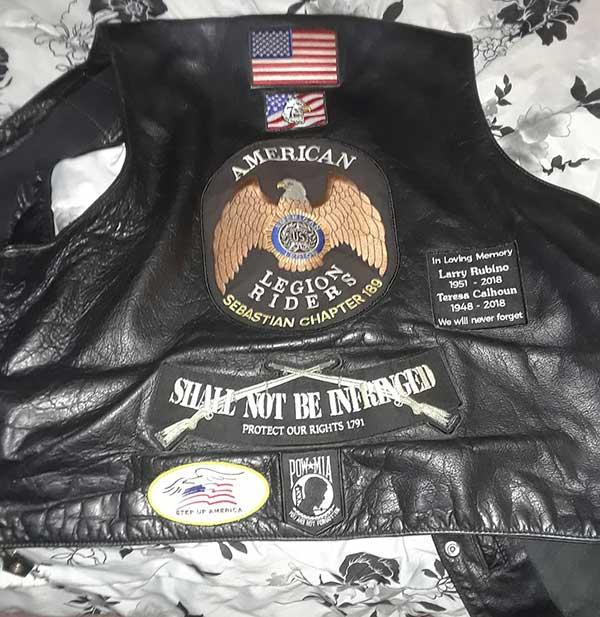 Jeff Gage's American Legion vest.