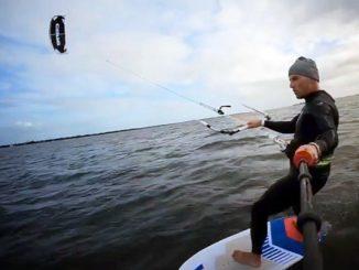 Kitesurfing in Sebastian, Florida.