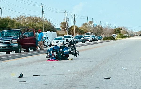 Motorcycle crash in Sebastian, Florida.